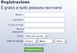 Il form di registrazione su Facebook
