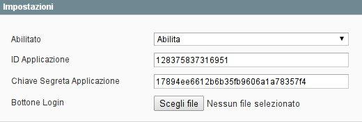 Magento configurazione Login