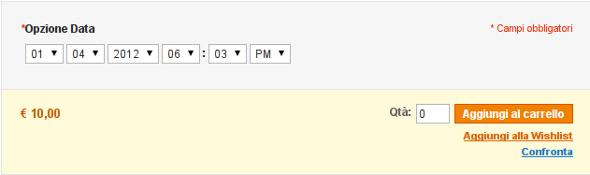opzione data scheda