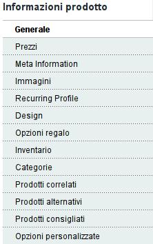 menu sezioni