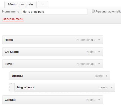 Elementi del menu WordPress