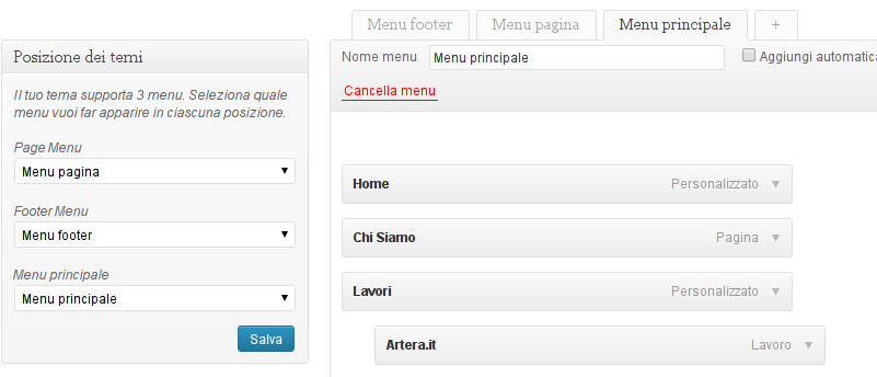 Creare menu personalizzato WordPress
