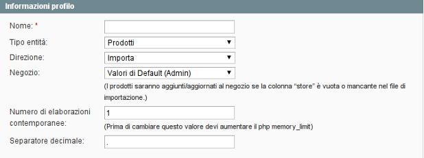 informazioni profilo - importazione