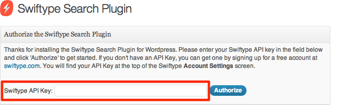 wordpress-swiftype-api-key