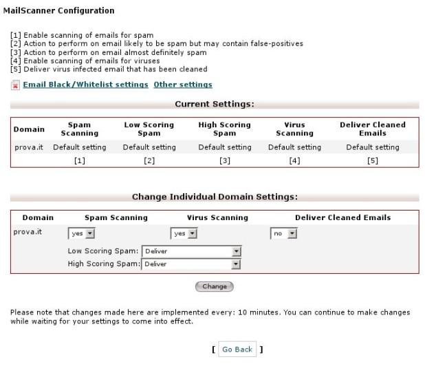 Schermata MailScanner