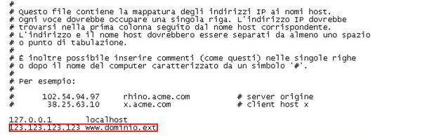 Come modificare il file hosts per collegarsi al proprio sito
