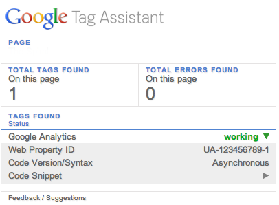 Google Tag Assistant ok
