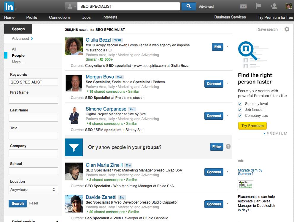 Linkedin SEO social ricerca avanzata