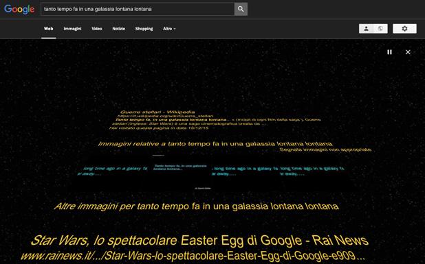 SERP di Google personalizzata per Star Wars