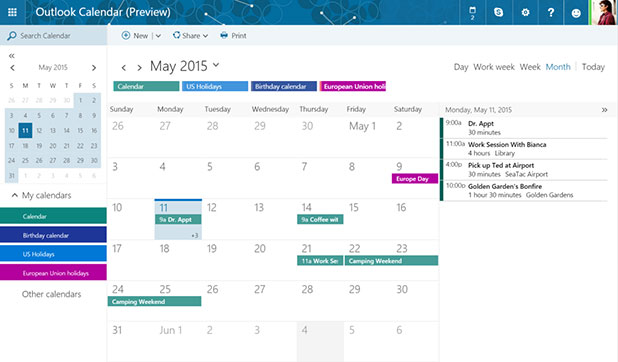 Nuovo Outlook.com e il calendario