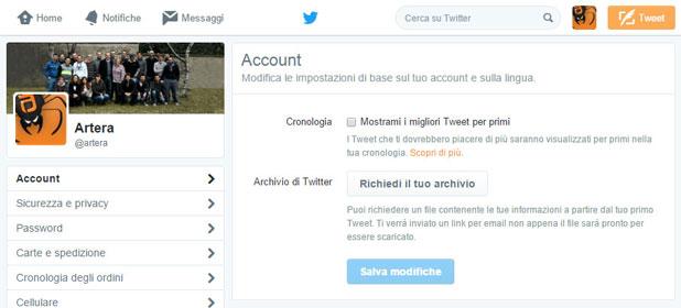 Ordinamento dei tweet nella timeline di Twitter