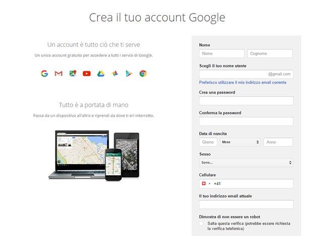 Creare un account Google
