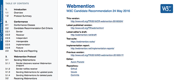 Il W3C standardizza i Webmention